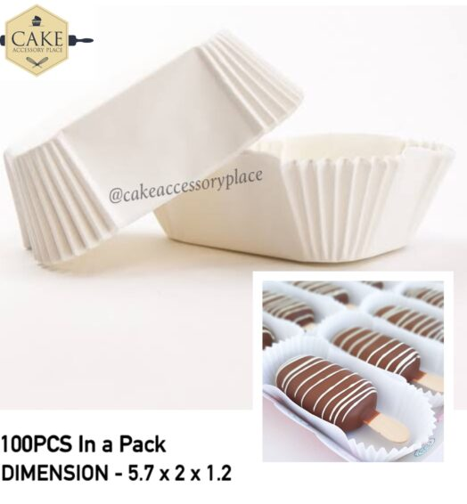 White Eclair Baking Liners / Cups – 50pcs