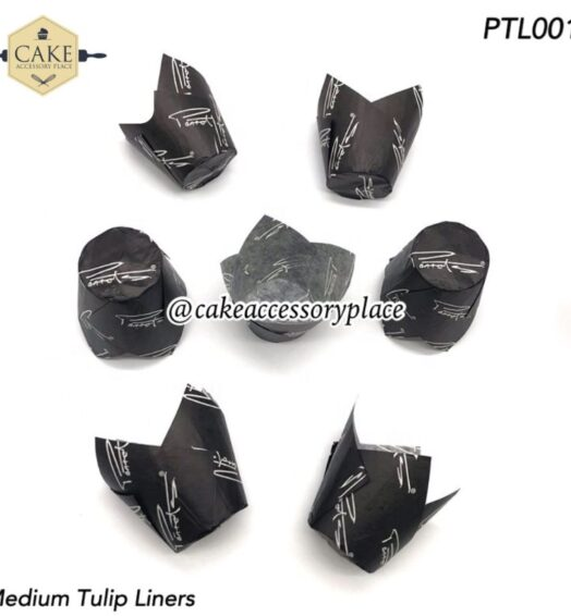 Black and White Tulip Liners – 50pcs