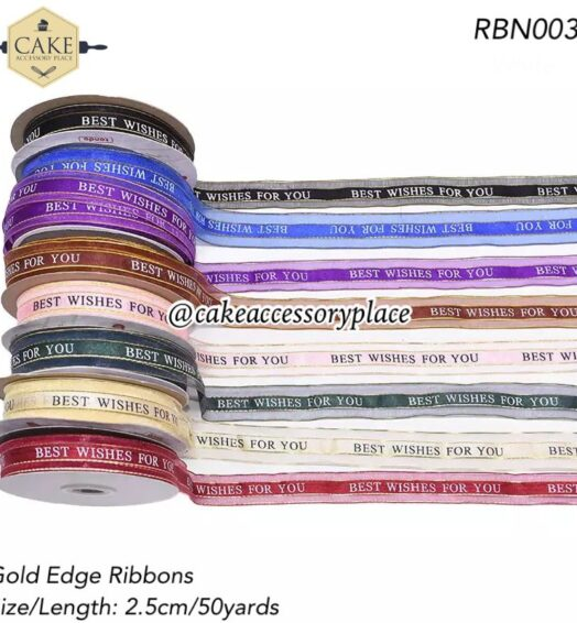 Best Wishes Gold Edge Ribbons
