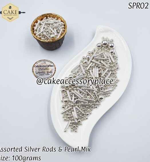 Assorted Silver Rods & Pearl Mix – 100gms