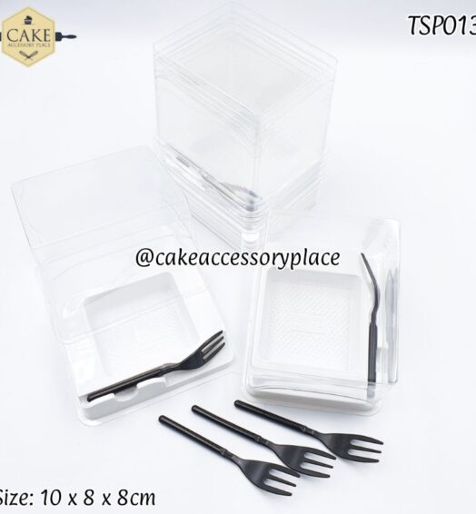 Small Blister Slice Plate with black forks – 25pcs